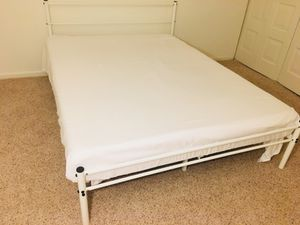 Queen size metal bed frame with 8-inch mattress and bug cover for Sale in Manassas, VA