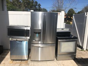 GE KITCHEN SET Stainless Steel BRAND NEW French Door Fridge, Electric Range, Microwave and Dishwasher. for Sale in Tampa, FL
