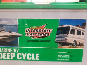 Interstate marine RV deep cycle battery 600 cold cranking amps 750 marine cranking amps 160 reserve capacity date 12/2019 for Sale in Monterey, CA