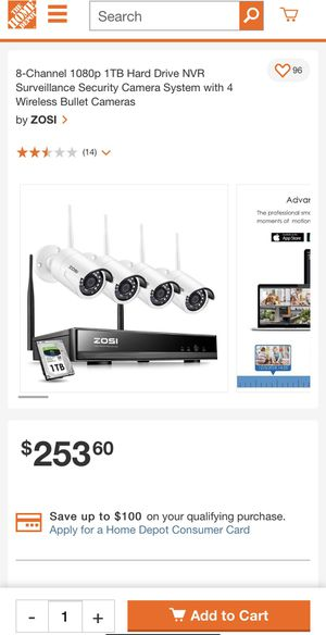 Security cameras zosi 8 Chanels 4 cams wireless for Sale in Los Angeles, CA