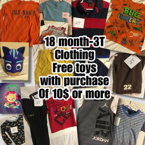 Free toy Kids clothing 18 M baby - 3T toddler for Sale in Cincinnati, OH