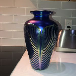 Blue And Gold Vlvic Art Glass Vase # 32.005 for Sale in Lake Worth, FL
