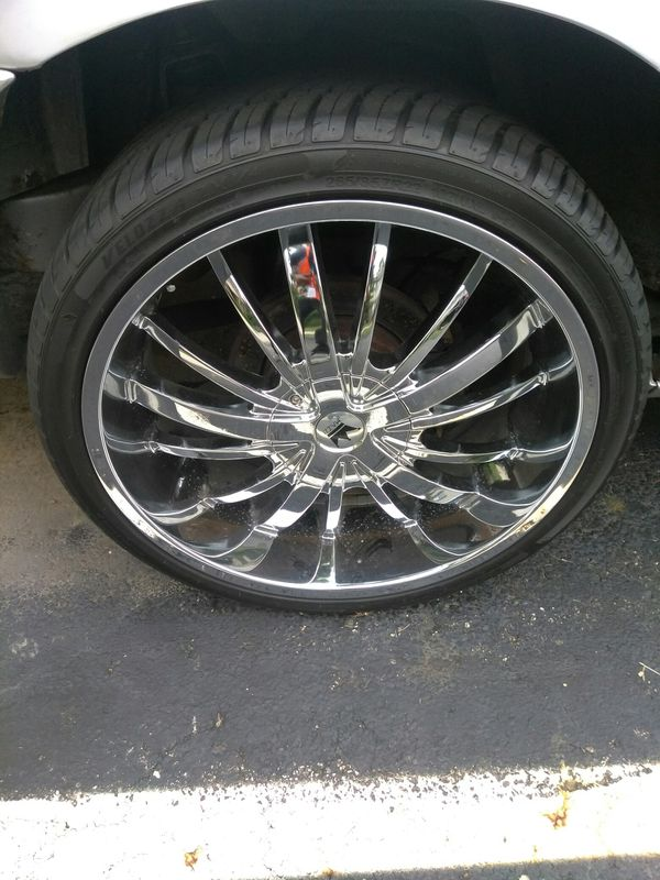 I have a set of 24 inch chrome rims and tires they're also Universal.. I need a set of rims and tires back and return to put the car on Crown Vic5 lug