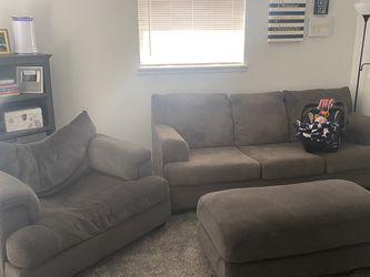 Gray Sofa, Oversized Chair & Ottoman for Sale in Tacoma,  WA