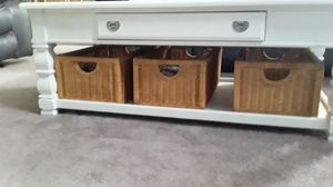 Glass tops baskets include book shelves less then a year old coffee table has wheels all sold together for that price for Sale in Blacklick, OH
