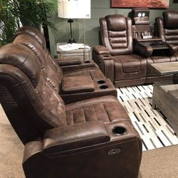 👉In Stock 👈 On Display 👉Ashley [EXCLUSIVE] Game Zone Bark Power Reclining Living Room Set with Adjustable Headrest 🤙SOFA AND LOVESEAT 🤙 for Sale in Greenbelt,  MD