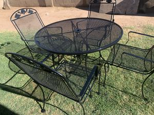 5 pieces patio table set wrought iron no like new for Sale in Glendale, AZ