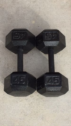 45lb Weight Iron Hex Dumbbells Pair for Sale in Las Vegas, NV