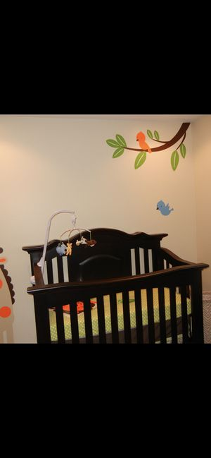 Crib, 3 chairs, mirror and bed frame for full or twin for Sale in Toms River, NJ