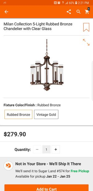 Milan collection 5 light rubbed bronze chandelier with clear Glass for Sale in Bellaire, TX