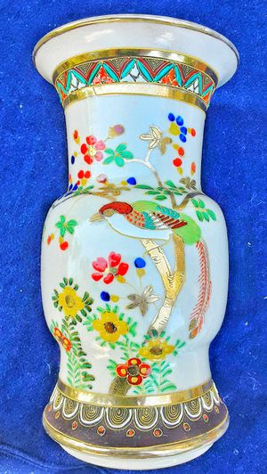 "Japanese Satsuma 10"" victorian or art deco large white signed art pottery vase for Sale in Saginaw, MI"