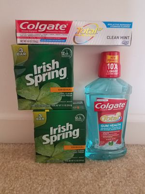 Colgate Toothpaste and Irish spring barsoap bundle - $10 price firm for Sale in Rockville, MD