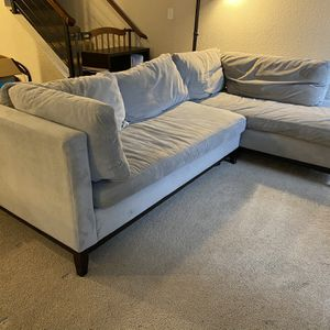 West Elm Couch -Sectional Grey Velour Material, Down Filled Cushions for Sale in Woodway, WA