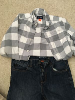Boys Children's place dress shirt and. Jeans size 7/8 for Sale in Chantilly, VA