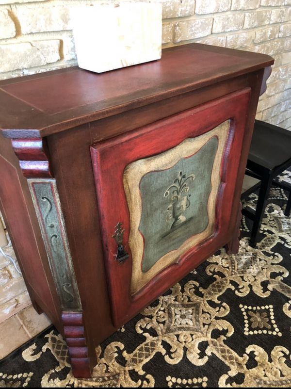 Arhaus Hand Painted Cabinet w/ 2 Shelf Storage