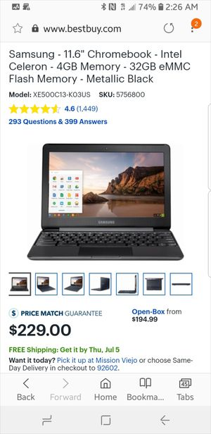 "Samsung - 11.6"" Chromebook - Intel Celeron - 4GB Memory - 32GB eMMC Flash Memory - Metallic Black for Sale in San Juan Capistrano, CA"