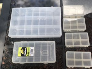 Plastic Fishing Lure Storage Boxes (6) for Sale in West Mifflin, PA