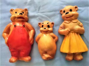 CHALKWARE THE 3 BEARS NURSERY WALL HANGING FIGURES 1940's-50's-- for Sale in Northfield, OH