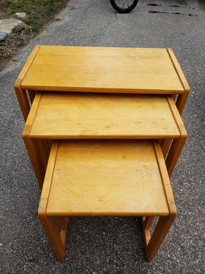 3 stackable display tables to refinish for Sale in Providence, RI