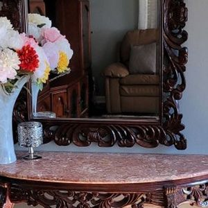 entrance table in solid wood with granite top and mirror. for Sale in Garner, NC