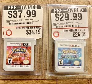Two Pokémon games for Nintendo 3DS $25 for both for Sale in Los Angeles, CA
