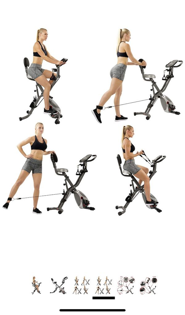 Sunny Health & Fitness Squat Assist Row-N-Ride Trainer for Squat Exercise and Glutes Workout. And sunny health fitness foldable semi recumbent magn