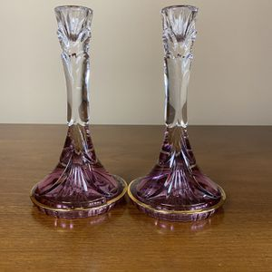 Two Crystal candle stands for Sale in Milford Charter Township, MI