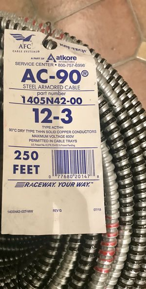 BX Cable (12-2 & 12-3) Steel Armored 250 feet Each (85 for 1) (150 for both) for Sale in Brooklyn, NY