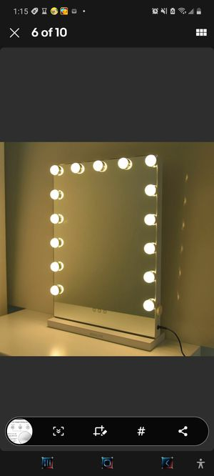 Hollywood Makeup Lighted Vanity Mirror Lights 15 LED Bulbs Dimmable Tabletops for Sale in Fresno, CA