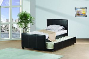NEW, Twin Size Platform Bed (Fully Slated) with Twin Trundle, Black, SKU# 7526T for Sale in Westminster, CA