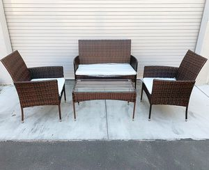"New in box $190 Small 4pcs Wicker Ratten Patio Outdoor Furniture Set (Seat 37x19"" and 19x19"") Assembly Required for Sale in South El Monte, CA"