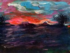 """BARBARA HOYT """"SUNSET IN SHIRO TEXAS"""" ORIGINAL PAINTING, BEAUTIFUL ACEO MINIATURE GOUACHE LANDSCAPE, HIGHLY COLLECTABLE ARTIST, SIGNED for Sale in Shiro, TX"""