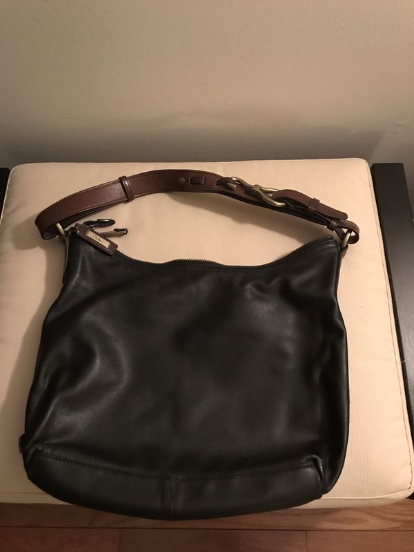 """Cole Haan Soft Leather Hobo Shoulder Bag (12"""" W 15""""L) with Gold Buckle and Brown Fabrics and Pockets Inside. Very Food Condition"""