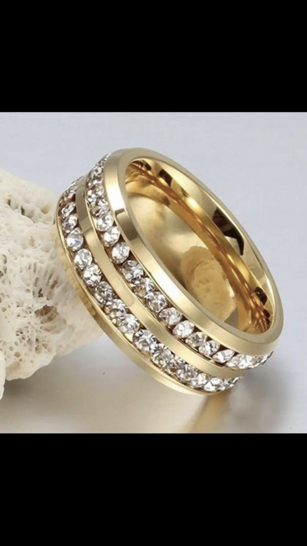 Stainless steel gold plated ring band women's men's jewelry unisex
