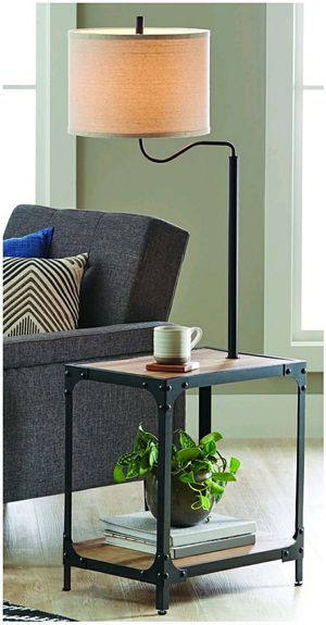 End Table Floor Lamp with USB Port Charge Phone Tablet - Living Room Tabletop Shelf Storage for Sale in Glendora, CA