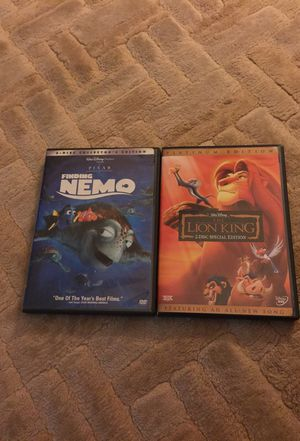 Disney Pixar lion king and finding nemo 2 disc collection for Sale in Atlanta, GA