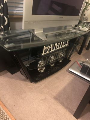 Nice glass TV stand comes with free older plasma tv for Sale in Everett, WA