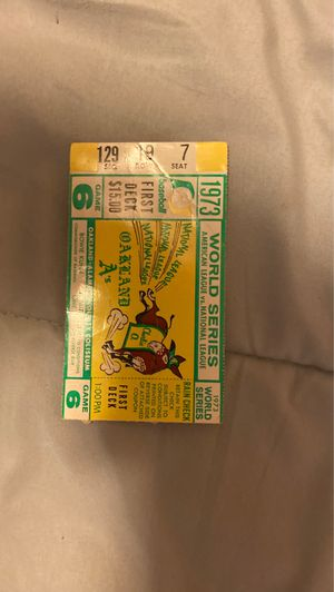 Oakland A's ticket stub from 1973 World Series Game 6 for Sale in Los Altos, CA