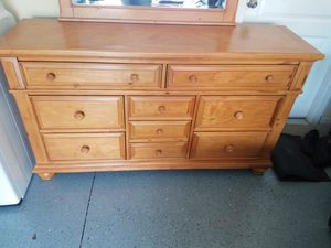 Queen bed frame with mirror and dresser night stand. for Sale in Tampa, FL