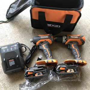 RIDGID 18-Volt Lithium-Ion Cordless Brushless Hammer Drill and Impact Driver 2-Tool Combo Kit with (2) 2.0 Ah Batteries, Charger for Sale in Houston, TX