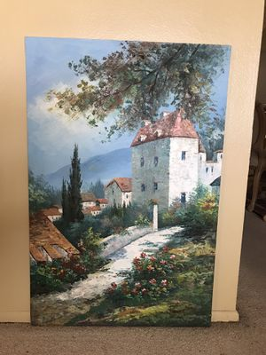 Large hand painted oil painting on canvas Italy France Europe scene for Sale in Tempe, AZ