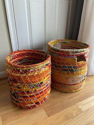 Kantha Jute Baskets - Set of 2 for Sale in Arlington, VA