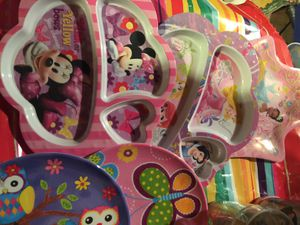 Lots little girl toys Elsa watch hello kitty lunch box plates mugs see pictures lots for Sale in Long Branch, NJ