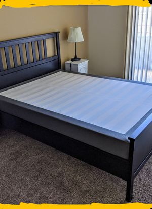 Complete Bed | Queen | frame + spring box (with cover) + center support beam for Sale in Las Vegas, NV
