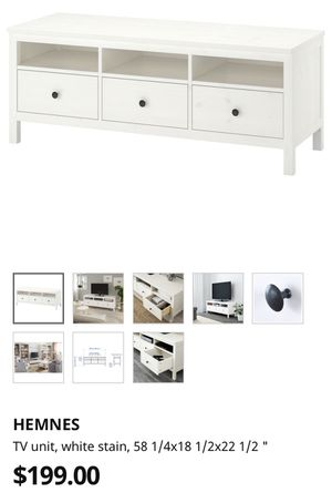 IKEA, white Hennessy TV stand with storage. for Sale in Virginia Beach, VA