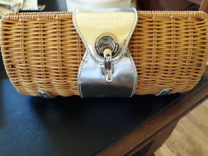 Authentic Kate Spade Wicker and Silver Clutch for Sale in Columbus, OH