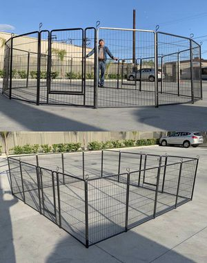 New 40 inch tall x 32 inches wide each panel x 16 panels heavy duty exercise playpen adjustable fence safety gate dog cage crate kennel for Sale in Bell Gardens, CA