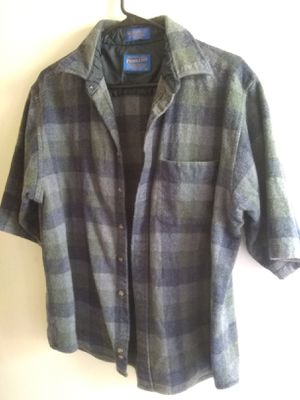 Pendleton Mens Wool Short Sleeve Front Button Shirt XL Plaid Green and Grey for Sale in Santa Maria, CA