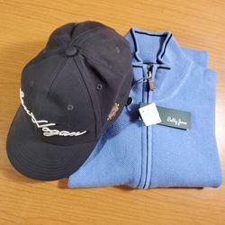 New Bobby Jones Golf Men's Large 1/4 Zip Cashmere Cotton Pullover & Ben Hogan Hat for Sale in La Grange,  IL