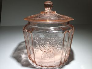 PINK DEPRESSION GLASS CANISTER STYLE IN THE MAYFAIR PATTERN for Sale in Ocoee, FL
